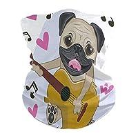 子犬犬のギター音楽フェイス保護マスクスカーフバンダナUV防塵サイクリングハイキングアウトドアボーイズガールズ大人用ポケット付きフィルター用