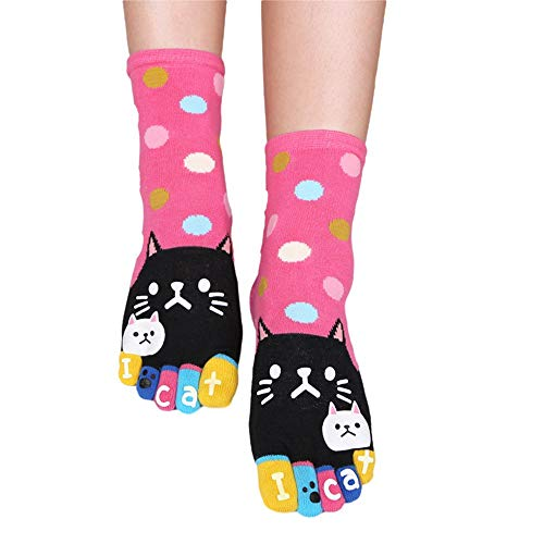 Grifo Cute Cat Pattern Cartoon Five Finger Calcetines Running Athletic Tobillo Calcetines de algodón Rosa