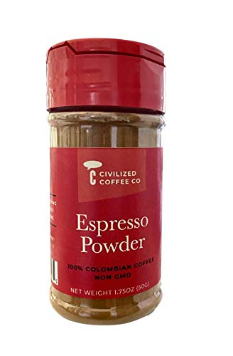 Civilized Coffee Espresso Coffee Powder for Baking & Smoothies, Non-GMO Colombian Coffee fine ground (1.75 oz) (1)