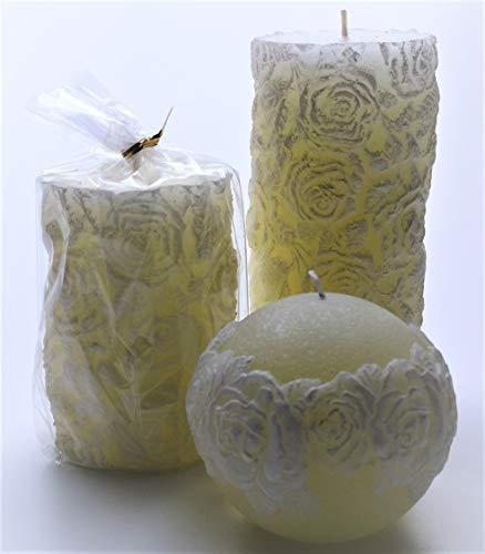 Baby 3 Kerzen Rose Weiß-Creme Taufe Dekoration