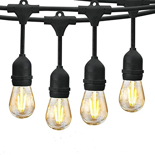 Svater 96Ft Outdoor String Lights, 2Pack 48Ft Patio Lights Plug in with 2W Led Glass Bulb, Dimmable ,2700K Warm White, Commercial Grade IP65 Waterproof Hanging String Light,ETL Listed