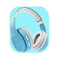 KJCHEN ヘッドフォン10代の心かわいいヘッドセットワイヤレスBluetoothヘッドセットHezonstoneスポーツコンピューターロングスタンバイユニバーサルアンサー留守番電話モバイルハイファーヘッドフォン (Color : Blue)