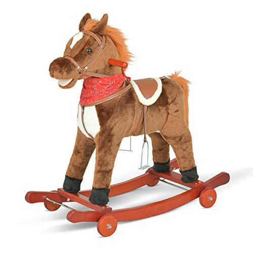 """Uenjoy Kids Rocking Horse - 2-in-1 Fun Ride on Toy for Kids Ages 2-4 Years Old, Easy Set Up Baby Playset Animal Rocker Sliding Toy for Indoor and Outdoor, 29.9"""" L x 11.4"""" W x 29.5"""" H, Light Brown"""