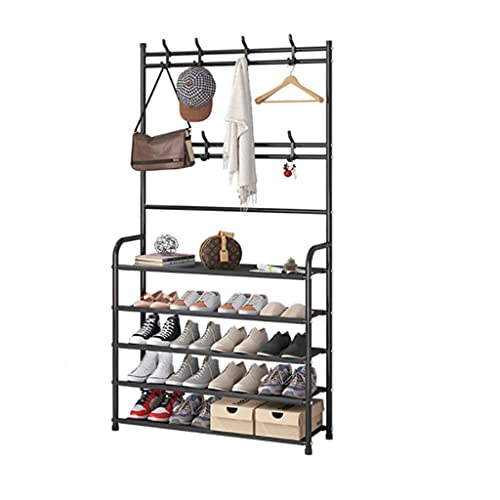 Zapatera Zapato estante simple hierro gabinete de zapatos doméstico a prueba de polvo zapato zapato gabinete de almacenamiento de zapatos simple y hermoso estante de zapato zapatero ( Color : Black )