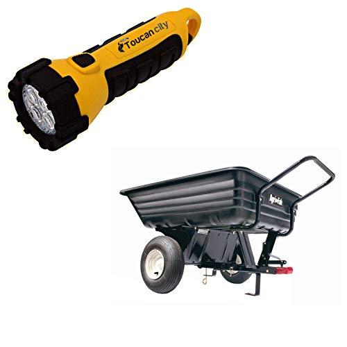 Toucan City LED Flashlight and Agri-Fab 8 cu. ft. 350 lb. Poly Convertible Cart 45-03453