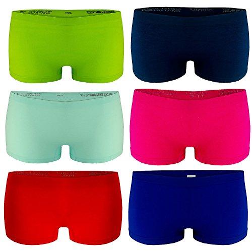 Libella 6er Pack Damen Panties Boxershorts Mikrofaser Seamless 3908 Mehrfarbig S/M