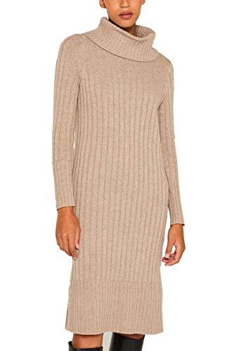 ESPRIT Damen 109Ee1E005 Kleid, Braun (Taupe 5 244), Small (Herstellergröße: S)
