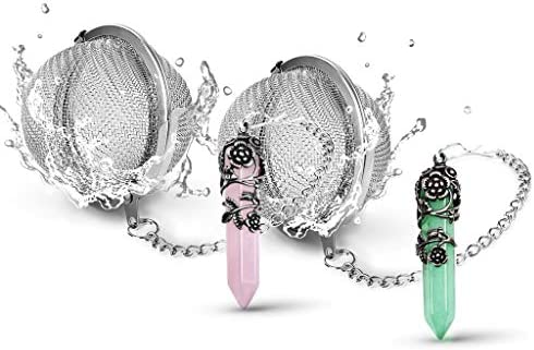 SaNavie 2 Pack Healing Crystal Pendant Loose Tea Steeper Tea Infusers Tea Strainers for Couple product image