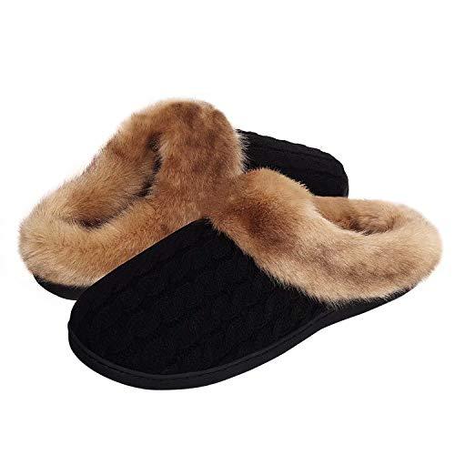 Damen Herren Hausschuhe Winter Memory Foam Pantoffeln Unisex Warm Plüsch und rutschfeste Indoor Bequem Slippers(Schwarz-K,44/45 EU)