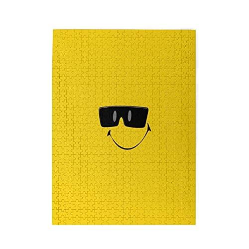 Smily_Face_in_Sonnenbrille 1000 Teile Puzzle Holzpuzzle Bildpuzzle für Erwachsene Teens