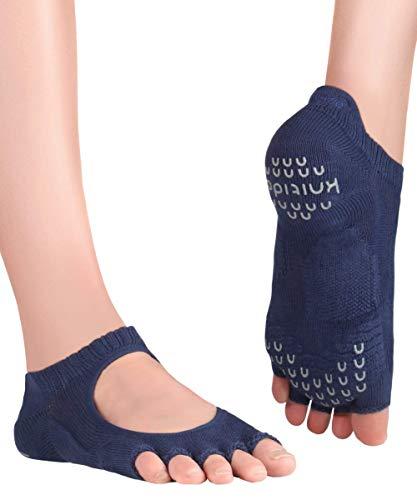 Knitido+ Kasumi, Offene Yoga-Zehensocken mit Grip, Größe:39-42, Farbe :indigo (55)