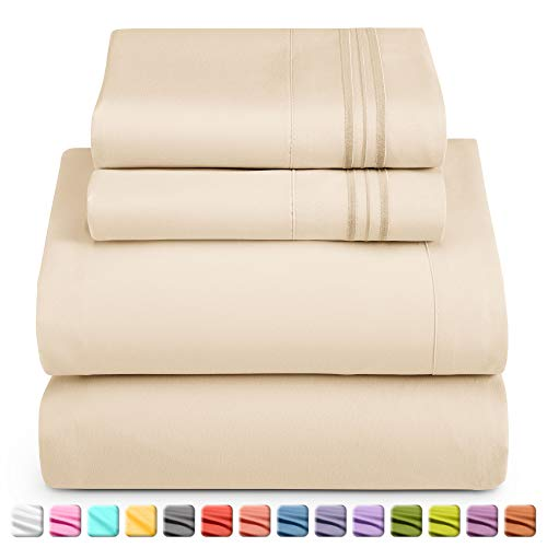 Nestl Deep Pocket King Sheets: 4 Piece King Size Bed Sheets with Fitted Sheet, Flat Sheet, Pillow Cases - Extra Soft Microfiber Bedsheet Set with Deep Pockets for King Sized Mattress - Beige Cream