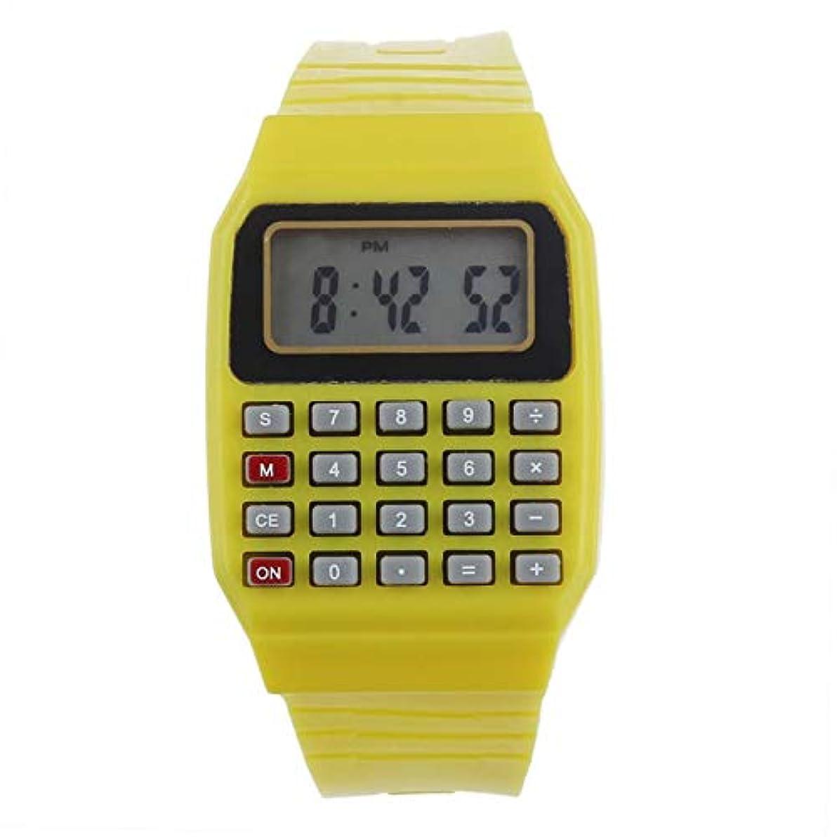 夜間このに対してDressin リスト電卓 Unsex シリコーン 多目的 日付 時間 電子 リスト電卓 腕時計 データバンク ブラック デジタルウォッチ ベージュ