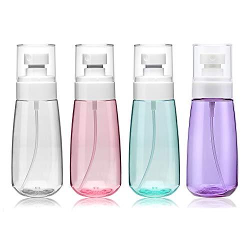 Botella de spray de 100 ml, paquete de 4 recipientes vacíos para viajes, cosméticos, recargables, de plástico, pulverizador de agua, para perfumes, cuidado de la piel, loción...