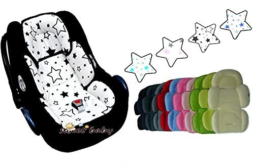 Reductor de asiento de coche para recién nacidos, 2 en 1 Softy Maxi Newborn, lado de verano e invierno (rosa - Twinkle Stars Rose)
