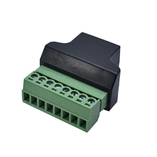 Adaptador RJ45 Hembra A Bloque De Terminales De 8 Pines Adaptador De Extensor De Cable Ethernet para Dvr Digital Cat5 Cat5e Cat6 Cat7 (1 Pack/Hembra)