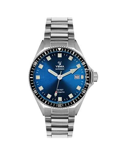Yema Herren-Armbanduhr, Stahl, silberfarben