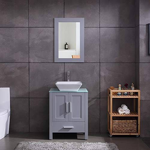 "24"" Grey Bathroom Vanity Cabinet and Sink Combo Glass Top MDF Wood w/Sink Faucet &Drain Set"