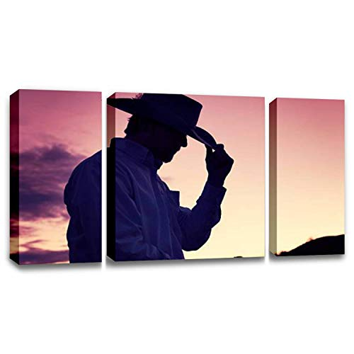 CCArtist Gentleman Cowboy Tipping His Hat in A Western Sunset Wall Decor Print on Canvas Modern Artwork Living Room Bedroom Painting Art Wall