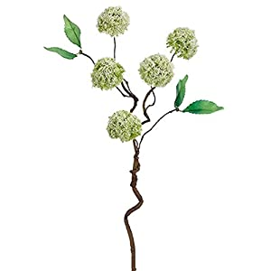 18″ Handwrapped Silk Mini Snowball Flower Spray -Cream/Green (Pack of 12)