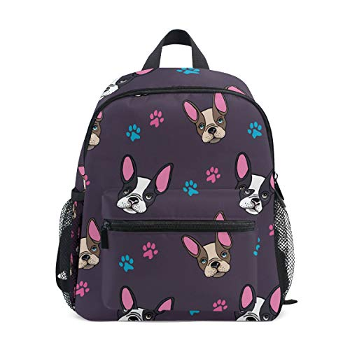 AUUXVA Kids Backpack Animal French Bulldog Travel School Bags for Girls Boys (Color4)