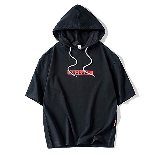 Kapuzen-T-Shirt, halblange Ärmel, einfacher Druck, atmungsaktiv und weich, Hip-Hop-Stil, Schwarz , xxl