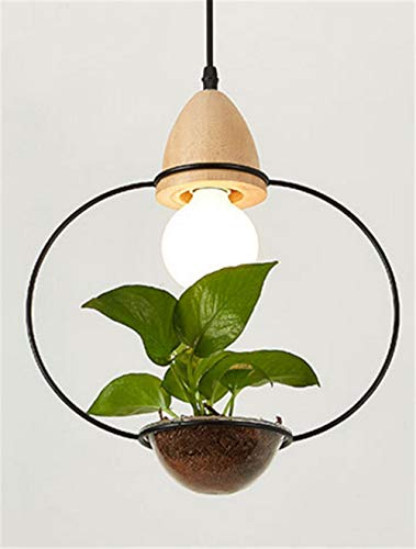 Art Deco Led Plant Hanglamp met Hout Base E27 Creatieve Rustieke Pot Cultuur Hanglamp voor Eetkamer Café Bar Restaurant Rond