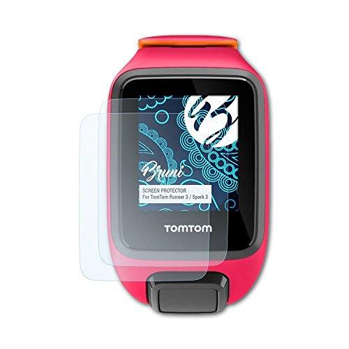 Bruni Schutzfolie kompatibel mit Tomtom Runner 3 / Spark 3 Folie, glasklare Bildschirmschutzfolie (2X)
