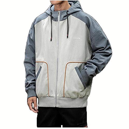 Heren capuchonjas, katoen gebreid vest ritszak contrasterende kleur jas mode casual losse bedrukte jas buiten winddicht warme jas shirt