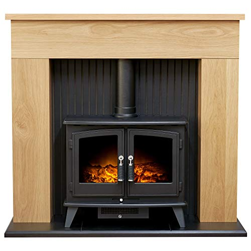Adam Innsbruck Stove Suite in Oak with Woodhouse Electric Stove in Black, 48 Inch