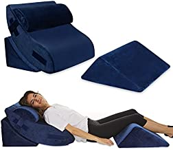 4 pcs Bed Wedge Pillow - Post Surgery Advanced Adjustable Pillow Set with Memory Foam - Relief System for Shoulder Back, Neck and Leg Elevation | Acid Reflux, Anti Snorin - Machine Washable Cover