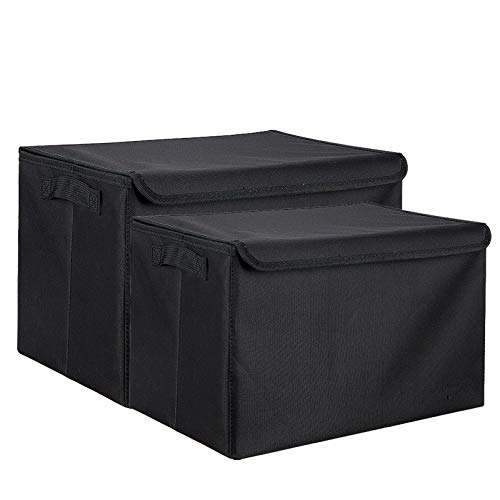 YXKA Cajas de Almacenamiento Plegables de Gran Capacidad Tela de Almacenamiento Cestas de Almacenamiento Organizador de contenedores para Ropa de Cama, Ropa, armarios, dormitorios,Negro