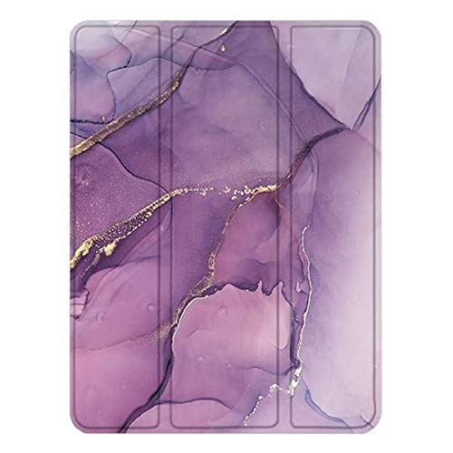 """SaharaCase Folio Series Case for iPad Pro 11"""" (2nd Gen 2020) [Shockproof Bumper] Rugged Protection Antislip Grip Leather Kickstand - Purple Marble"""