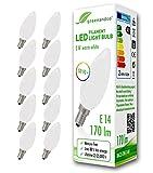 10x Bombilla de filamento LED greenandco® IRC 90+ E14 opaca 2W (corresponde a 18W) 170lm 2700K (blanco cálido) 360° 230V AC vidrio, sin parpadeo, no regulable