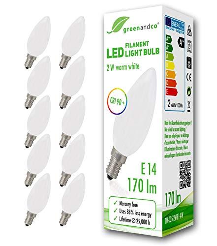 10x greenandco® CRI90+ LED Lampe ersetzt 18 Watt E14 Kerze matt, 2W 170 Lumen 2700K warmweiß Filament Fadenlampe 360° 230V AC nur Glas, nicht dimmbar, flimmerfrei, 2 Jahre Garantie