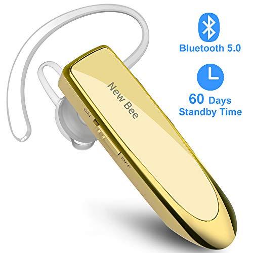 New bee Bluetooth Headset V5.0 Wireless Headset Bluetooth Freisprechen im Ohr mit Clear Voice Capture Technologie Bluetooth In-Ear Headset für iPhone Samsung Huawei HTC, Sony, usw (Gold)