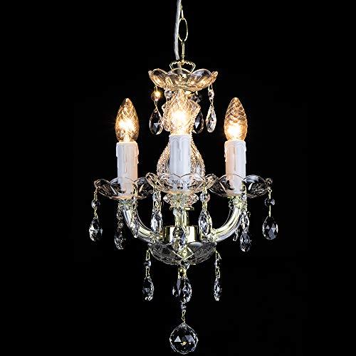 Kroonluchter Maria Theresa 3 vlammig goud - Ø27 cm Venetiaans glas - klassieke luster goudkleurig messing
