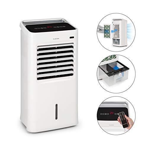 Klarstein IceWind - Luftkühler mit Nature Wind Function, 9 Liter Wassertank, Luftdurchsatz von 450 m³/h, 75 W, Abschalt-Timer, 3 Windstärken, Touch-Display, inkl. Fernbedienung und 2 Kühlakkus, weiß