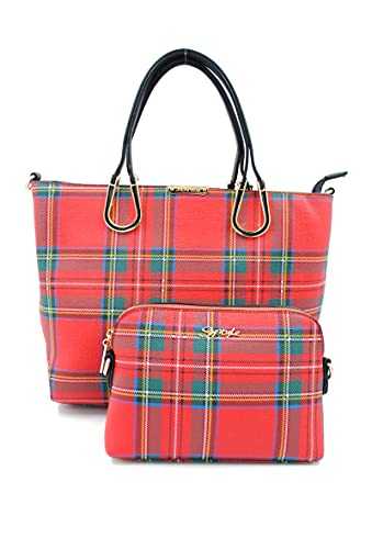 Mirabolante Systyle marca francesa, bolso de dama de cuadros rojos, combinación de conjunto de bolso de hombro de dama-104