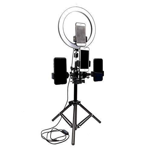 26Cm Anillo Luz, Mobile Live Fotografía Selfie Luz, Sin Pasos Atenuación Belleza Anillo LED Luz De Relleno, Portátiles con Altura Regulable Teléfono Clips Múltiples,160CM