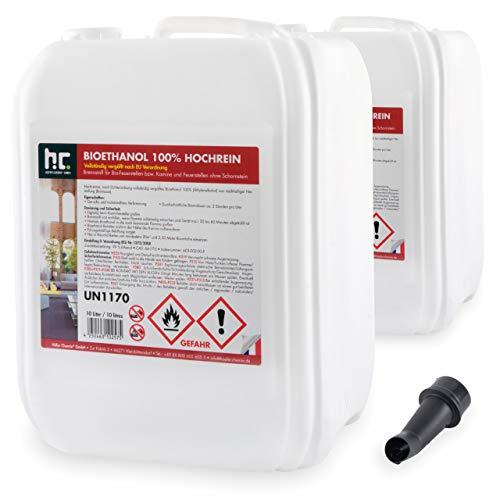 Höfer Chemie 20 L Bioethanol 99,9% Hochrein (2 x 10 L) für Ethanol Kamin, Ethanol Feuerstelle, Tischfeuer und Bioethanol Kamin
