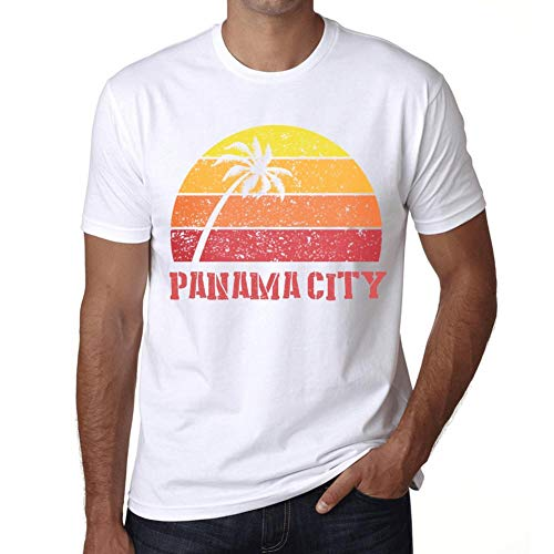 Hombre Camiseta Vintage T-Shirt Gráfico Panama City Sunset Blanco