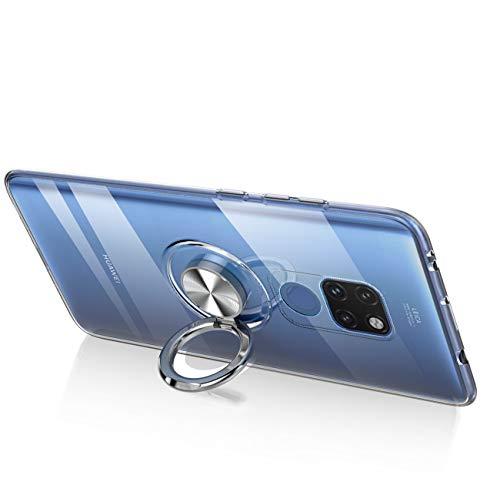 Kompatibel mit Huawei Mate 20 Lite Hülle Huawei Mate 20 Pro Silikon-Weiche Handyhülle Stoßfest Kickstand 360 Grad Handy Backcover Magnetische Autohalterung Anti-Rutsch Schutz (Durchsicht, Mate 20 Pro) - 4