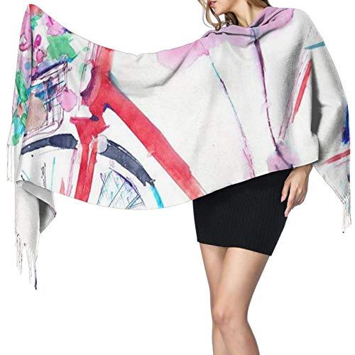 Bufanda de cachemir con estampado de bicicleta en acuarela, bufanda grande, suave y cálida, con borlas, bufandas, 77'x 27'