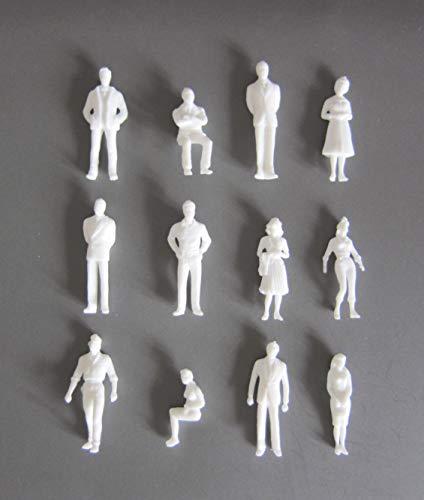 Archifreunde 25 x Modell Figuren, weiß unbemalt, für Modellbau 1:50, Modelleisenbahn Spur 0