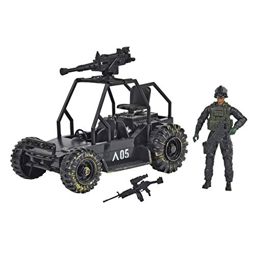 Sunny Days Entertainment Delta Attack Vehicle – Playset with Action Figure and Realistic Accessories | Military Toy Set for Kids – Elite Force