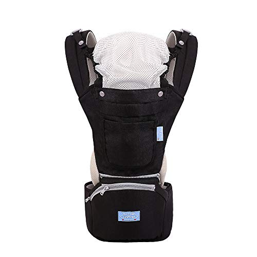 LUVFIRST Baby Carrier, Baby Hip Seat Ergonomic, Breathable Front Multifunctional Protection for Baby Hip Carriers, Adjustable Size, Perfect for Hiking Shopping Travelling (Black)