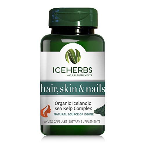ICEHERBS Hair, Skin & Nails Supplement – 60 Vegan Capsules – 100% Pure Icelandic Sea Kelp - Source of Iodine – for Stronger Hair and Nails - Made in Iceland - Powerful Natural Icelandic Blend
