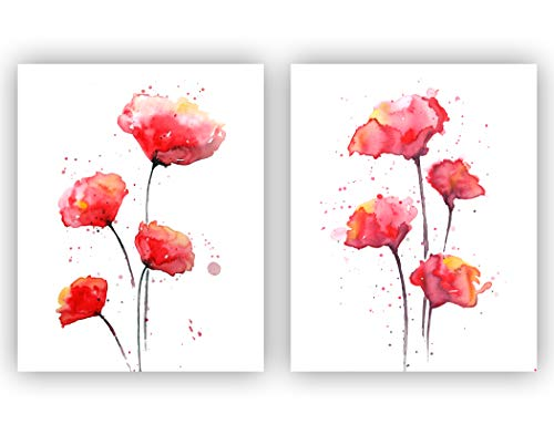 Red Poppies Watercolor Wall Art Print Set   Set of Two 8 x10 UNFRAMED Abstract Poppy Prints   Botanical, Floral, Modern, Flower Home Decor