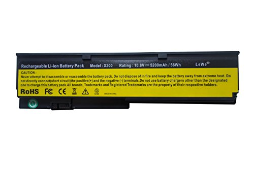 Justcell Batterie für Lenovo IBM ThinkPad X201 ThinkPad X200 ThinkPad X200s ThinkPad X201s ThinkPad X201i ThinkPad X200si, ersetzt 42T45[.] 42T46[.] Battery 47. Rating: 10,8V/5200mAh(56Wh)